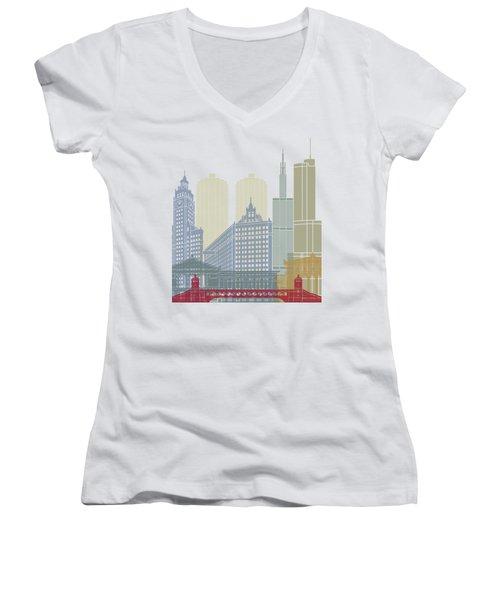 Chicago Skyline Poster Women's V-Neck T-Shirt