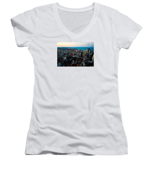 Women's V-Neck T-Shirt (Junior Cut) featuring the photograph Chicago Skyline by Richard Zentner