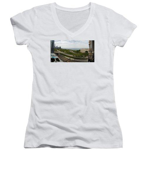 Chicago Skyline Showing Monroe Harbor Women's V-Neck T-Shirt (Junior Cut) by Michael Bessler