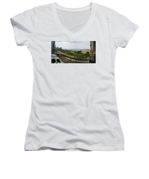 Chicago Skyline Showing Monroe Harbor Women's V-Neck T-Shirt