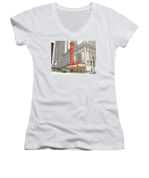 Chicago Theater Women's V-Neck (Athletic Fit)