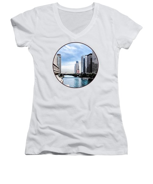 Chicago - View From Michigan Avenue Bridge Women's V-Neck (Athletic Fit)