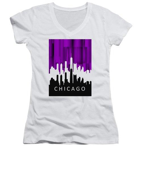 Chicago Violet In Negative Women's V-Neck T-Shirt