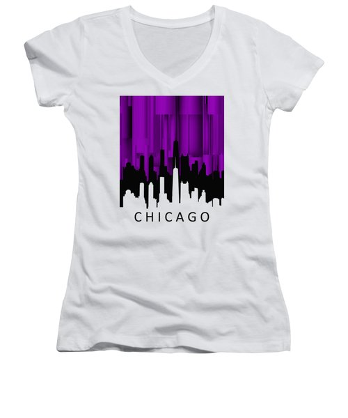 Chicago Violet Vertical  Women's V-Neck T-Shirt (Junior Cut) by Alberto RuiZ