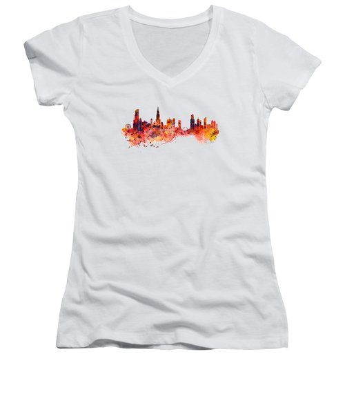 Chicago Watercolor Skyline Women's V-Neck T-Shirt (Junior Cut) by Marian Voicu