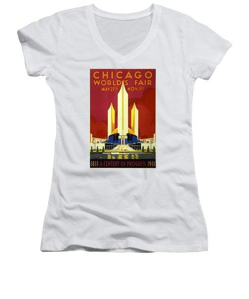 Chicago Worlds Fair 1933 Poster Women's V-Neck