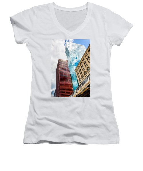 Chicago's South Wabash Avenue  Women's V-Neck T-Shirt (Junior Cut) by Semmick Photo