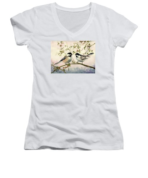 Chickadee Love Women's V-Neck T-Shirt