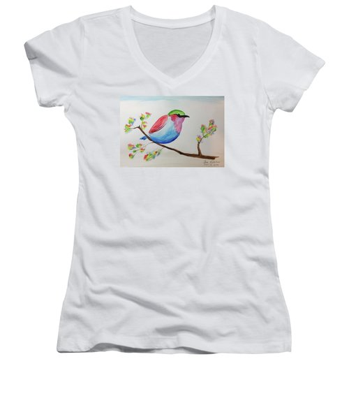 Chickadee With Green Head On A Branch Women's V-Neck