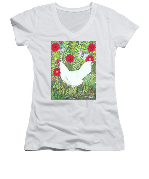 Chicken With Millefleurs And Butterflies  Women's V-Neck