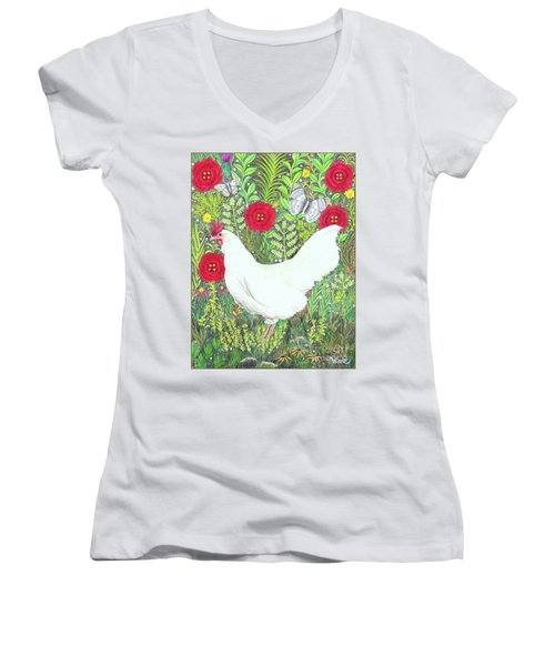 Chicken With Millefleurs And Butterflies  Women's V-Neck (Athletic Fit)