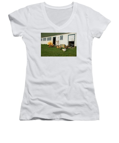 Women's V-Neck T-Shirt (Junior Cut) featuring the photograph Chickens By The Barn by Steven Clipperton