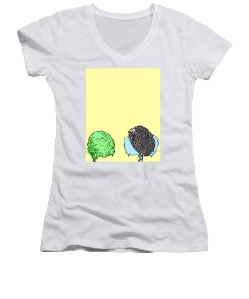 Chickens Three Women's V-Neck T-Shirt