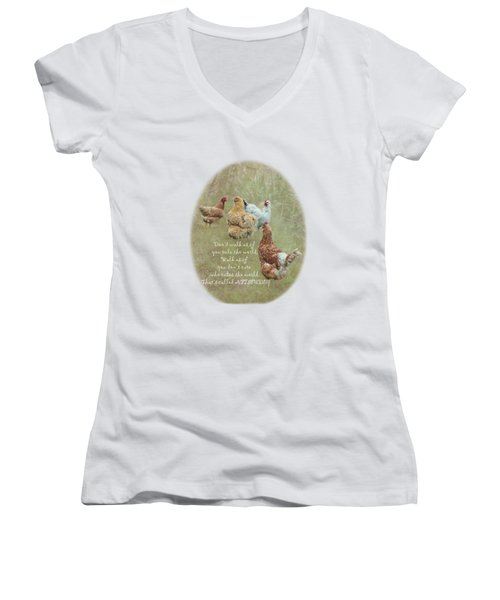 Chickens With Attitude On A Transparent Background Women's V-Neck T-Shirt (Junior Cut) by Terri Waters