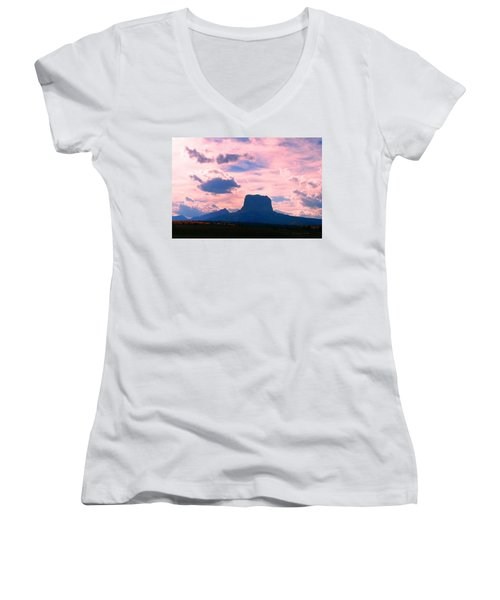 Chief Mountain, Pastel Women's V-Neck T-Shirt