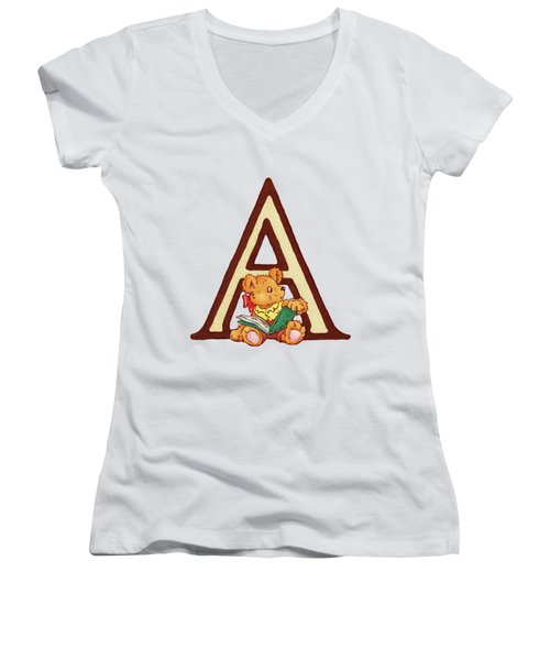 Children's Letter A Women's V-Neck T-Shirt (Junior Cut) by Andrea Richardson