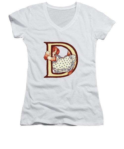 Children's Letter D Women's V-Neck T-Shirt