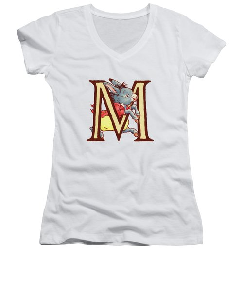 Children's Letter M Women's V-Neck T-Shirt (Junior Cut) by Andrea Richardson