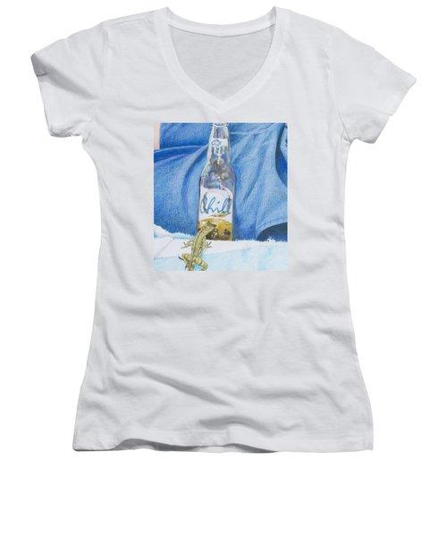 Women's V-Neck T-Shirt (Junior Cut) featuring the mixed media Chill by Constance DRESCHER