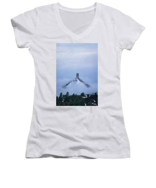 Chimney Rock Rising Women's V-Neck T-Shirt (Junior Cut) by Jason Coward