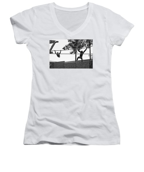 Women's V-Neck T-Shirt featuring the photograph Chimps In Black And White by Miroslava Jurcik