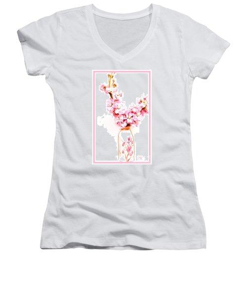 Women's V-Neck T-Shirt (Junior Cut) featuring the digital art Chinese Bouquet by Marsha Heiken