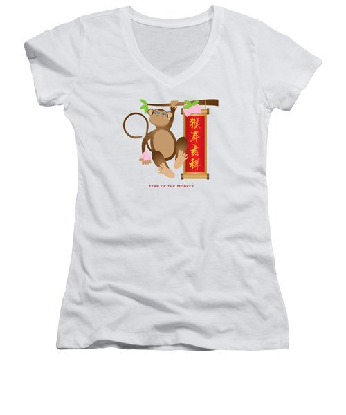 Chinese Year Of The Monkey With Peach And Banner Illustration Women's V-Neck T-Shirt