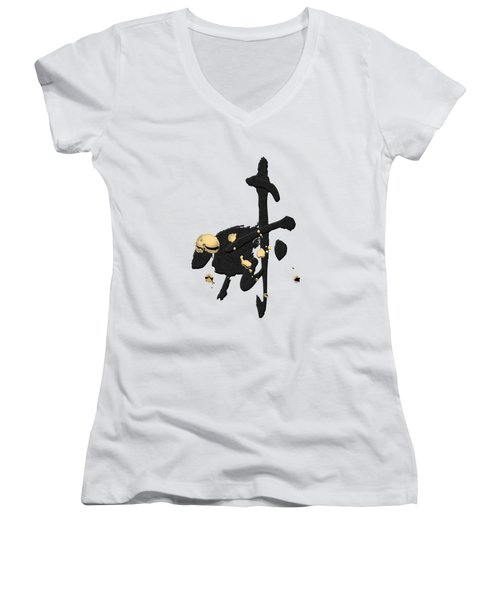 Chinese Zodiac - Year Of The Goat On Rice Paper Women's V-Neck (Athletic Fit)
