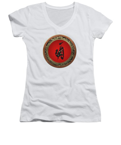 Chinese Zodiac - Year Of The Rooster On White Leather Women's V-Neck T-Shirt