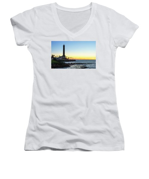 Chipiona Lighthouse Cadiz Spain Women's V-Neck T-Shirt (Junior Cut) by Pablo Avanzini