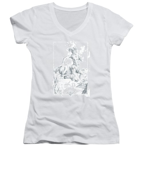 Women's V-Neck T-Shirt (Junior Cut) featuring the drawing Chiron The Centaur by Curtiss Shaffer