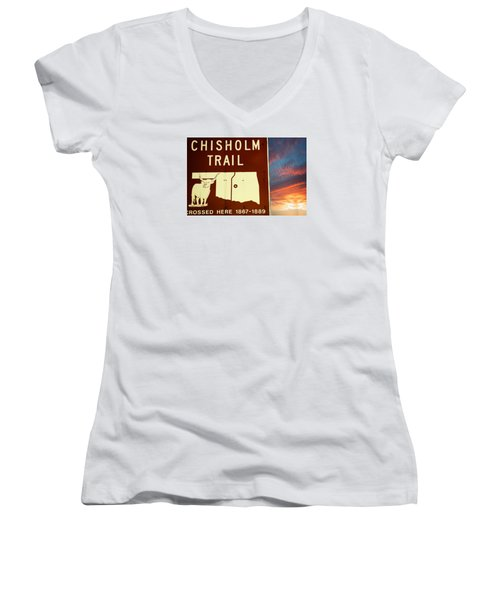 Women's V-Neck T-Shirt (Junior Cut) featuring the photograph Chisholm Trail Oklahoma by Bob Pardue