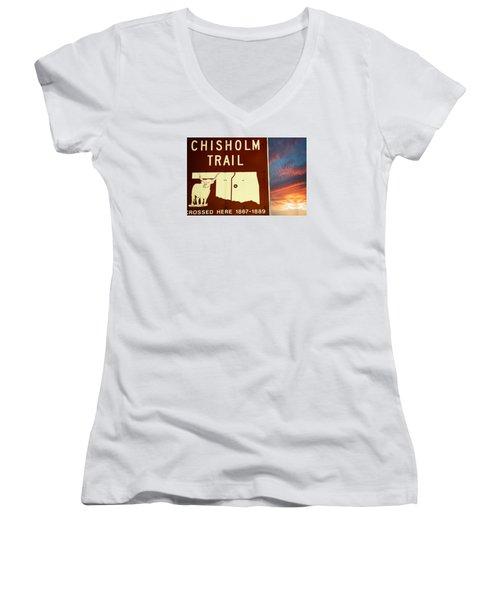 Chisholm Trail Oklahoma Women's V-Neck T-Shirt (Junior Cut) by Bob Pardue