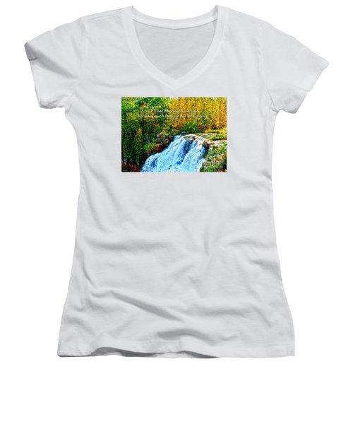 Women's V-Neck T-Shirt (Junior Cut) featuring the photograph Chittenango Falls, Ny Mother Teresa  by Diane E Berry