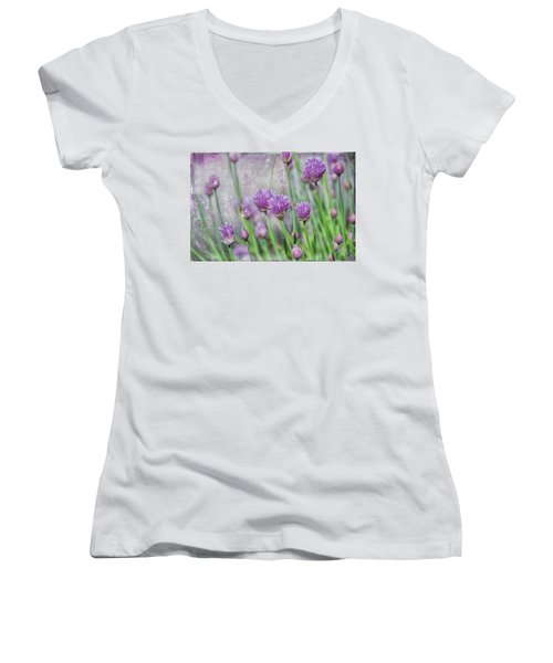 Chives In Texture Women's V-Neck T-Shirt (Junior Cut) by Debra Baldwin