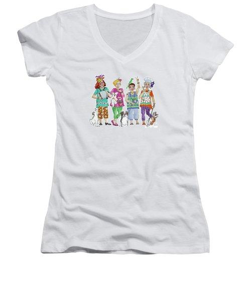 Chix Women's V-Neck T-Shirt (Junior Cut) by Rosemary Aubut