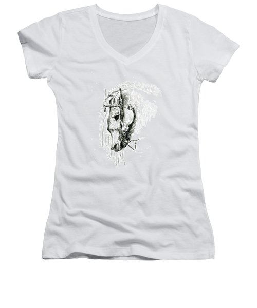 Chomping At Bit - Sketch1 Women's V-Neck T-Shirt (Junior Cut) by Shirley Heyn