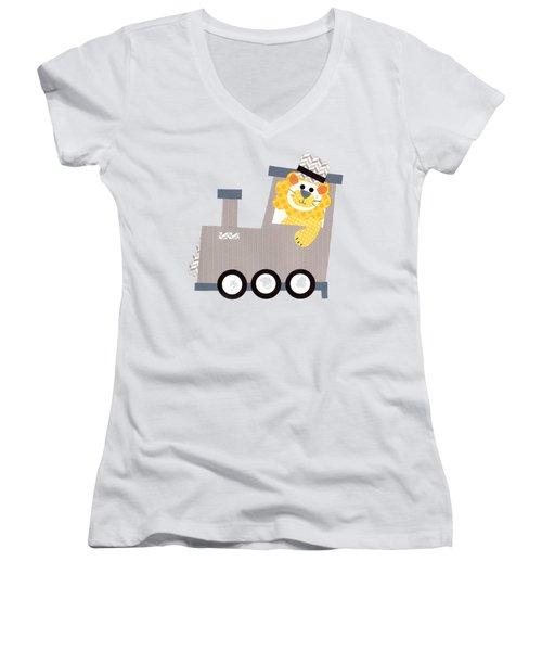 Choo Choo T-shirt Women's V-Neck T-Shirt (Junior Cut) by Herb Strobino