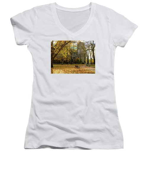 Christchurch Cathedral Women's V-Neck T-Shirt (Junior Cut) by Keith Boone
