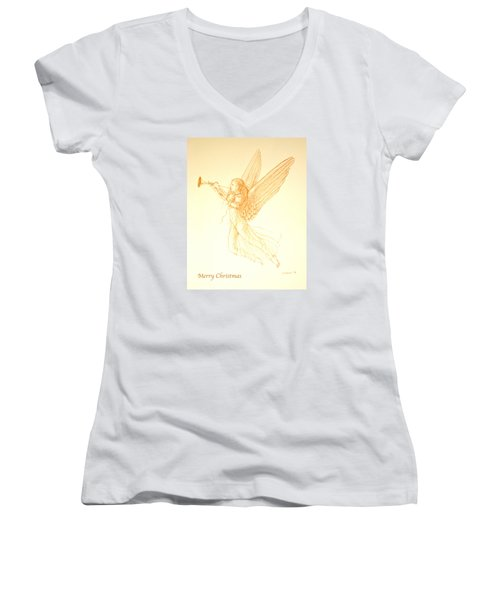 Christmas Angel With Trumpet Women's V-Neck T-Shirt (Junior Cut) by Deborah Dendler