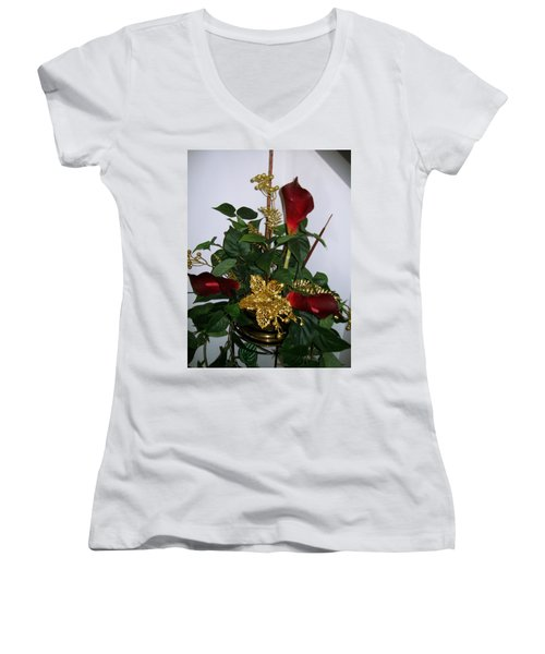 Christmas Arrangemant Women's V-Neck T-Shirt (Junior Cut) by Sharon Duguay