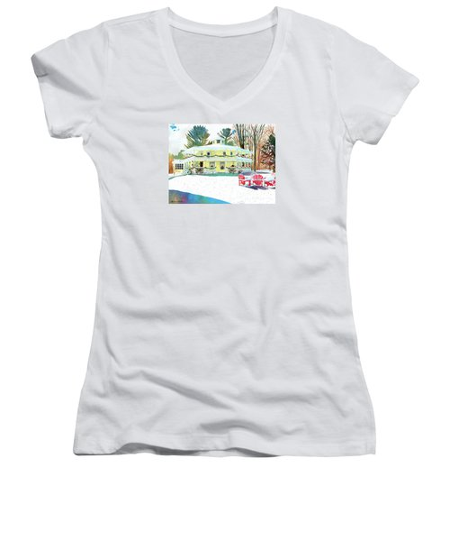 Women's V-Neck T-Shirt (Junior Cut) featuring the painting Christmas At The Hexagon House by LeAnne Sowa