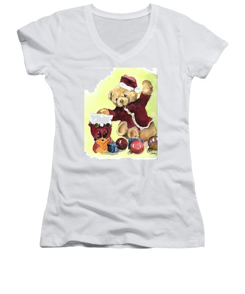 Christmas Bear Women's V-Neck T-Shirt