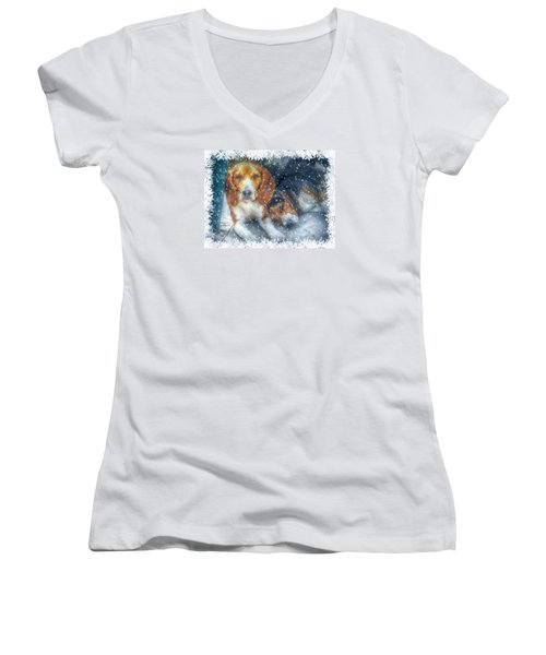 Christmas Brothers Women's V-Neck T-Shirt (Junior Cut) by Amanda Eberly-Kudamik