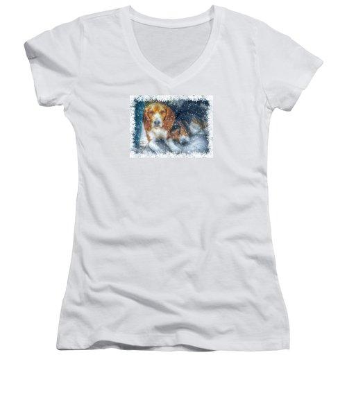 Christmas Brothers Women's V-Neck T-Shirt (Junior Cut)