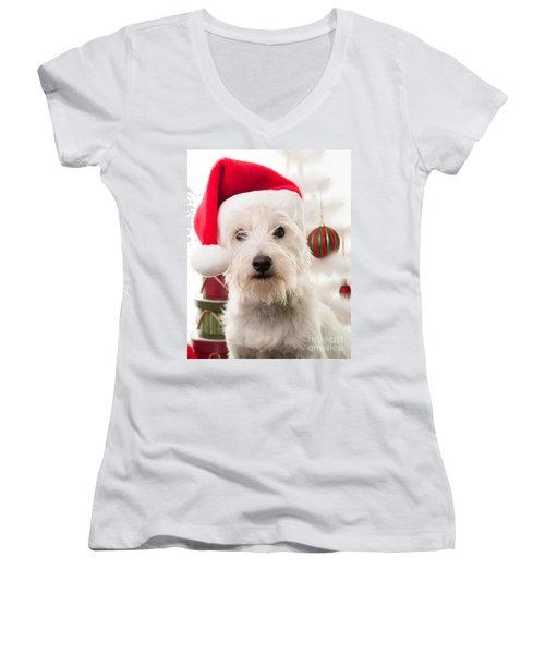 Christmas Elf Dog Women's V-Neck (Athletic Fit)