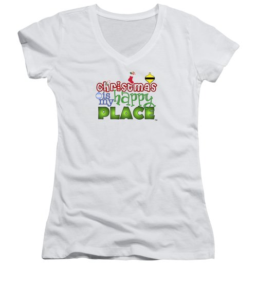 Christmas Is My Happy Place Women's V-Neck (Athletic Fit)
