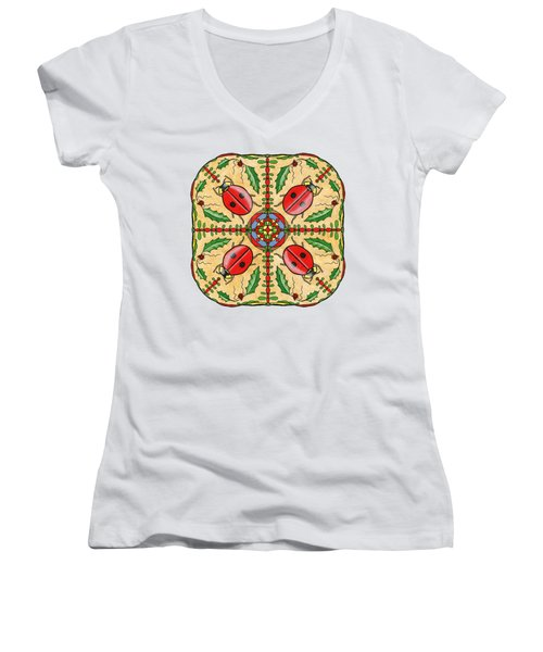 Christmas Ladybug Mandala Women's V-Neck T-Shirt (Junior Cut) by Tanya Provines