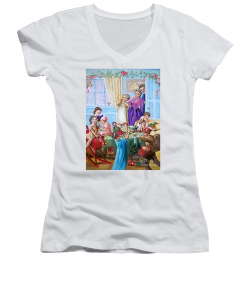 Women's V-Neck T-Shirt (Junior Cut) featuring the painting Christmas Morning by Sigrid Tune