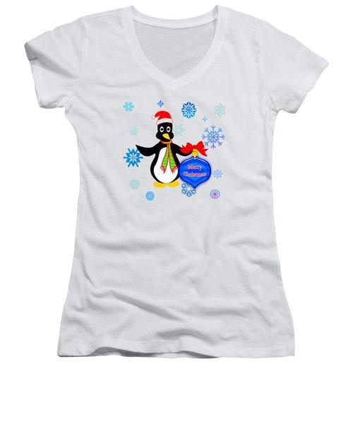 Christmas Penguin Women's V-Neck T-Shirt